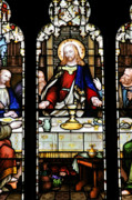 Stained Glass Posters - Stained Glass Window Last Supper Saint Giles Cathedral Edinburgh Scotland Poster by Christine Till