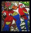 Tropical Stain Glass Glass Art - Stained Glass Window Macaws by Phil And Brenda Petersen