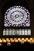 Churches Posters - Stained glass window of Notre Dame de Paris. France Poster by Bernard Jaubert