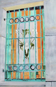 Turquoise Stained Glass Painting Prints - Stained Glass Window Print by Sandy McIntire