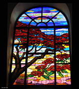 Glass Art Glass Art Posters - Stained glass window Poster by Suhas Tavkar