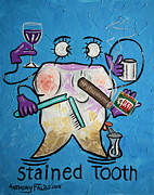 Stretched Canvas Metal Prints - Stained Tooth Metal Print by Anthony Falbo