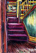 Iowa Pastels Prints - Stainglass Windows and Stairs Print by Jeffrey Carnal