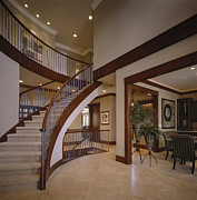 Architectural Design Prints - Staircase in Modern Home Print by Robert Pisano