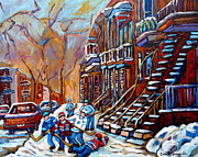 Hockey Painting Framed Prints - Staircase Paintings - Verdun - Rosemont -  Plateau Mont Royal - St. Henri - Hockey Scenes Framed Print by Carole Spandau