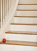Wooden Stairs Photo Prints - Stairs and Apple Print by Andersen Ross