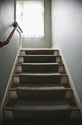 Wooden Stairs Posters - Stairs and Hand Rail Poster by Jetta Productions, Inc