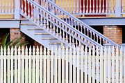 Sunshine Louisiana Framed Prints - Stairs And White Picket Fence Framed Print by Jeremy Woodhouse