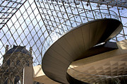 Popular Metal Prints - Stairs in Louvre Museum. Paris.  Metal Print by Bernard Jaubert