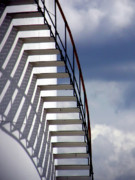 Blue White Prints - Stairs in the Sky Print by David April