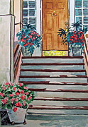 Sketchbook Painting Framed Prints - Stairs Sketchbook Project Down My Street Framed Print by Irina Sztukowski