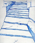 Heaven Drawings Originals - Stairs To Heaven by Pankaj Malhotra