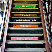 Downtown Stairs Metal Prints - Stairs to the Chicago L Metal Print by Anthony Doudt