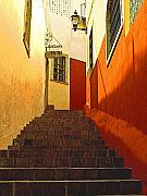 Michael Photo Framed Prints - Stairway Guanajuato Framed Print by Olden Mexico