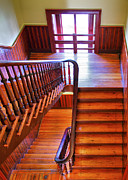 Wooden Stairs Metal Prints - Stairway In Old Naval Hospital Metal Print by Steven Ainsworth