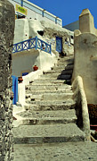 Cobblestones Photos - Stairway In Santorini by Madeline Ellis
