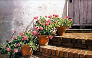 Steps Painting Originals - Stairway of Geraniums by David Lloyd Glover