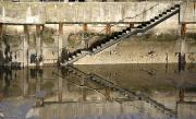 Architectural Details Photo Prints - Stairway Reflected By Water Print by John Short
