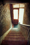 Wooden Stairs Framed Prints - Stairway to Door Framed Print by Jill Battaglia