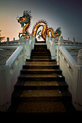 Oriental Pyrography Posters - Stairway to the Dragon. Poster by Phaitoon Chooti