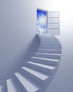 Rendered Framed Prints - Stairway to the freedom Framed Print by Gualtiero Boffi
