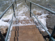 River Flooding Posters - Stairway to the River Poster by Robyn Stacey