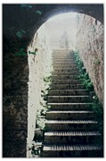 Roman Ruins Digital Art Posters - Stairway to the White Light Poster by Maxine Bochnia
