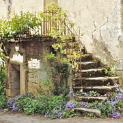 Europe Photo Framed Prints - Stairway With Flowers Flavigny France Framed Print by Marilyn Dunlap