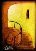 Intriguing  Pastels Framed Prints - Stairwell Framed Print by Lee Halbrook