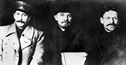Lenin Framed Prints - Stalin, Lenin & Trotsky Framed Print by Granger