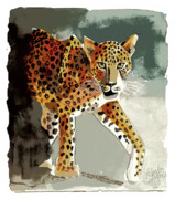 Leopards Digital Art Acrylic Prints - Stalking Acrylic Print by Arline Wagner
