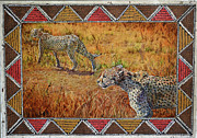 Cheetah Mixed Media Prints - Stalking Cheetahs Print by Carol J  South