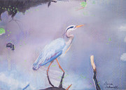 Great Pastels - Stalking Great Blue Heron by Dana Schmidt