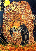 Leopard Pyrography Posters - Stalking Leopard Poster by Mike Holder