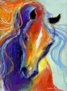 Rainbow Drawings Prints - Stallion Horse painting Print by Svetlana Novikova