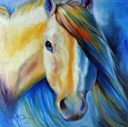 Mustang Paintings - STALLION WILD WHITE n BLUE by Marcia Baldwin