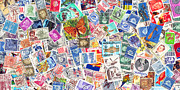 Mailman Posters - Stamp Collection . 2 to 1 Proportion Poster by Wingsdomain Art and Photography