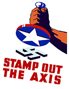 Ww2 Mixed Media Posters - Stamp Out The Axis Poster by War Is Hell Store