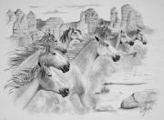 Horse Images Drawings Posters - Stampede In Sedona Poster by Joette Snyder