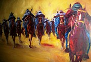 Horse Riders Painting Originals - Stampede by Leon Salako