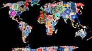 Stamp Collection Art - Stamps of The World Map . v1 by Wingsdomain Art and Photography