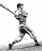 Baseball Drawings Posters - Stan the Man Poster by Bruce Kay