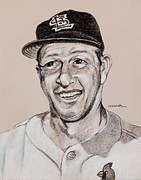 Baseball Art Drawings Posters - Stan the Man Poster by Jim Wetherington