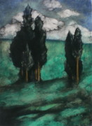 Silhouettes Pastels Prints - Stand of trees Print by Lori Dean Dyment