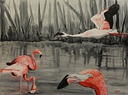 Flamingo Paintings - Stand Out Flamingos by Jean Kieffer