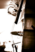 Bass Bridge Prints - Stand Up Bass Player at Sunfest Print by Gordon Wood