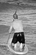 Stand Up Paddle Board Photos - Stand Up Paddle Board Bw by Robert Jones