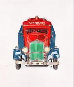 Color Pencil Prints - Standard Oil Tanker Print by Glenda Zuckerman