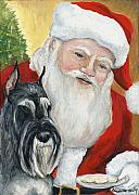 Santa Claus Paintings - Standard Schnauzer and Santa by Charlotte Yealey
