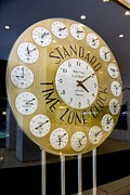 Business-travel Framed Prints - Standard Time Zone Clock. Framed Print by Mark Williamson